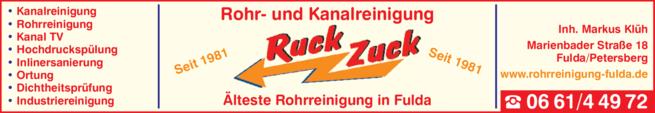 Anzeige Kanalreinigung Ruck Zuck