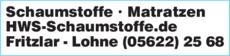 Anzeige Schaumstoffe Matratzen HWS-Schaumstoffe.de