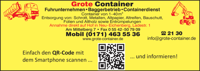 Anzeige Grote Container