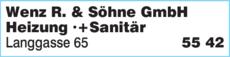 Anzeige Wenz R. & Söhne GmbH Heizung