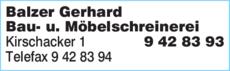 Anzeige Balzer Gerhard Bau- u. Möbelschreinerei