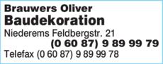 Anzeige Brauwers Oliver Baudekoration