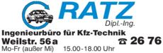 Anzeige Ratz Dipl.-Ing. KFZ-Sachverständigenbüro