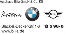 Anzeige Autohaus Bilia GmbH & Co. KG