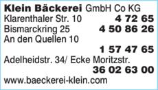 Anzeige Klein Bäckerei GmbH Co. KG