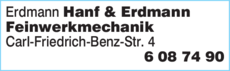 Anzeige Erdmann & Hanf Feinwerkmechanik