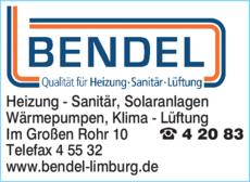 Anzeige Bendel W. GmbH Heizung