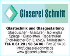 Anzeige Glaserei Schmitt GmbH & Co. KG Glastechnik u. -gestaltung
