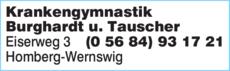 Anzeige Krankengymnastik Burghardt u. Tauscher