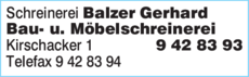 Anzeige Schreinerei Balzer Gerhard