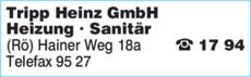 Anzeige Tripp Heinz GmbH Heizung