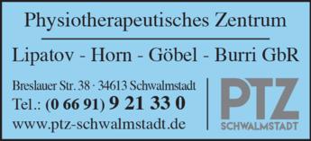 Anzeige Physiotherapeutisches Zentrum Lipatov, Horn, Göbel Schwalmstadt PTZ