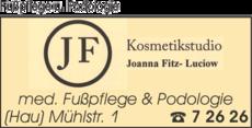 Anzeige Fußpflege u. Podologie Kosmetikstudio Fitz-Luciow