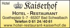 Anzeige Hotel Kaiserhof