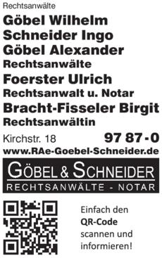 Anzeige Rechtsanwälte Göbel & Schneider