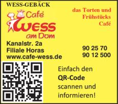 Anzeige Wess-Gebäck Filiale Horas
