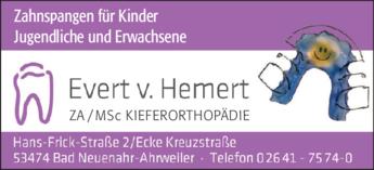 Anzeige Hemert v. Evert MSc Kieferorthopädie