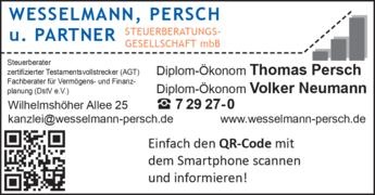 Anzeige Wesselmann, Persch & Partner Steuerberatungsgesellschaft mbB