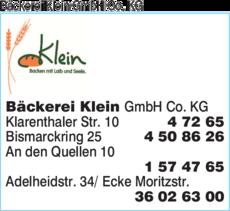 Anzeige Bäckerei Klein GmbH Co. KG