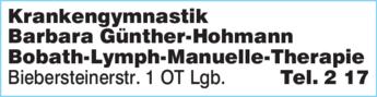 Anzeige Krankengymnastik Barbara Günther-Hohmann