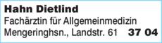 Anzeige Hahn Dietlind & Kollegen Fachärzte für Allgemeinmedizin