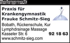Anzeige Krankengymnastik Frauke Schmitz-Sieg