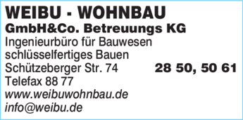 Anzeige Weibu - Wohnbau GmbH & Co. Betreuungs KG