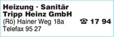 Anzeige Heizung Sanitär Tripp Heinz GmbH