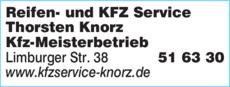 Anzeige Reifen- und KFZ Service Thorsten Knorz