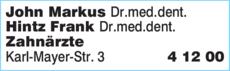 Anzeige John Markus Dr.med.dent. Oralchirurgie & Hintz Frank Dr.med.dent. Parodontologie