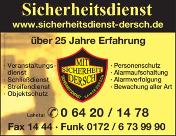 Anzeige Wach- u. Sicherheitsdienst Dersch