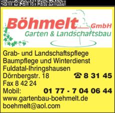 Anzeige Böhmelt GmbH Gartenbau