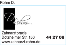 Anzeige Rohm D. Zahnarztpraxis