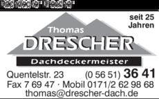 Anzeige Dachdecker Drescher Thomas