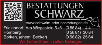 Anzeige Bestattungen Schwarz