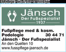 Anzeige Fußpflege med. & kosm./Podologie Jänsch