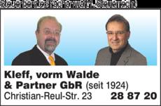 Anzeige Steuerberater/Rechtsanwalt Kleff, vorm Walde & Partner GbR