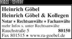Anzeige Göbel Heinrich & Kollegen Rechtsanwälte