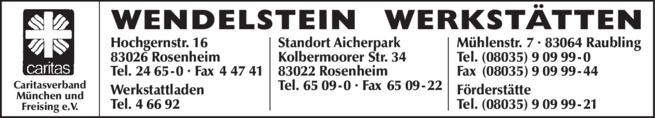 Anzeige Wendelstein Werkstätten