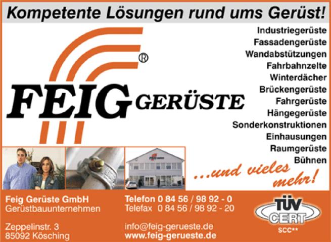 Anzeige Feig Gerüste GmbH