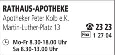 Anzeige RATHAUS-APOTHEKE