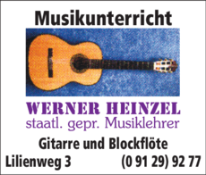 Anzeige Musikunterricht Heinzel Werner