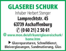 Anzeige Glaserei Schurk Inh. Herbert Stenger
