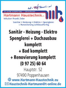 Anzeige Hartmann Haustechnik e.K. Inhaber Frank Zeier