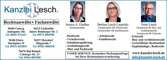Anzeige Anwalts- und Fachanwaltskanzlei Lesch Peter, Lesch-Lasaridis Bettina , Gralher Jessica A.