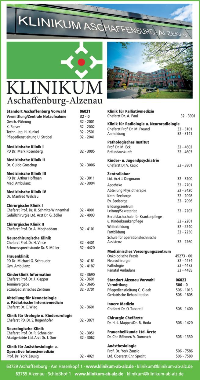 Anzeige KLINIKUM ASCHAFFENBURG