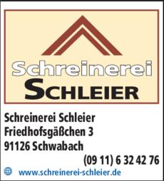 Anzeige Schreinerei Schleier