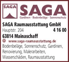 Anzeige Sonnenschutzanlagen SAGA Raumausstattung GmbH