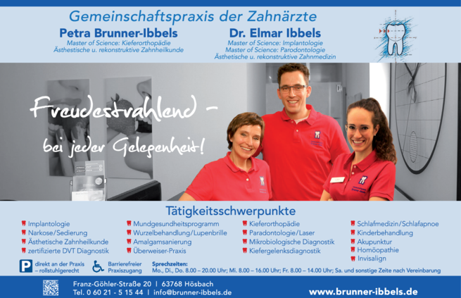 Anzeige Brunner-Ibbels Petra, Ibbels Elmar Dr.