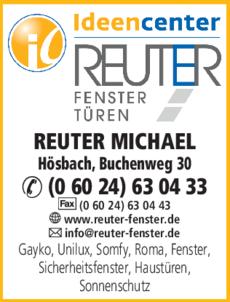 Anzeige REUTER Michael Fenster + Türen